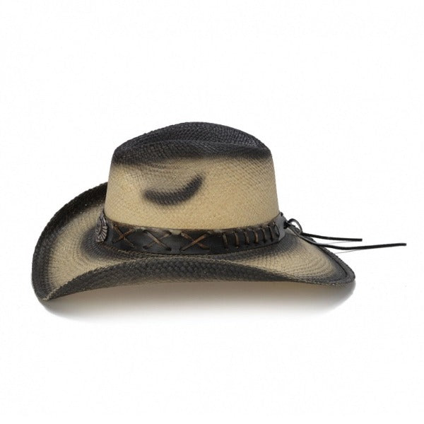 tea stained genuine panama straw womens's stampede cowboy hat with cross pendant