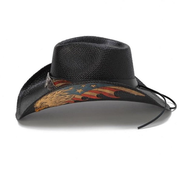 American Black Eagle USA Patriotic Straw Stampede Western Hat