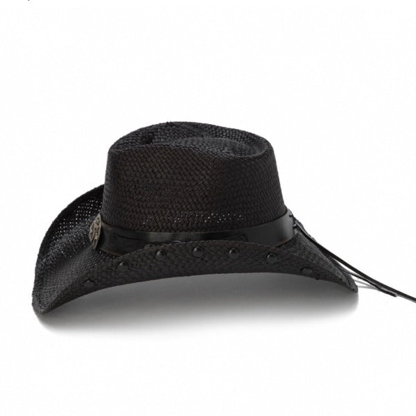 black cowboy stampede hat with black band and black star pendant