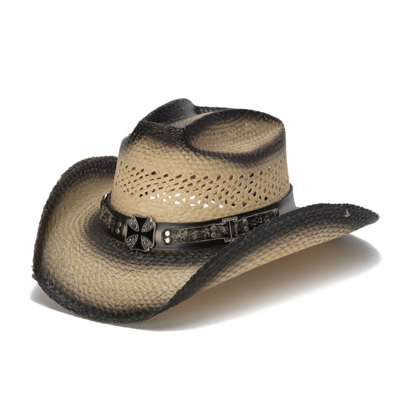 black stained genuine panama straw stampede women's cowboy hat with black band and cross pendant