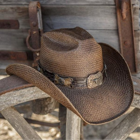 brown straw panama women's stampede cowboys hat and texas longhorn buckle pendant on wagon wheel