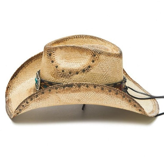 Willow Lane, Stampede Genuine Panama Straw Western Hat - Bluestone and Chin Cord