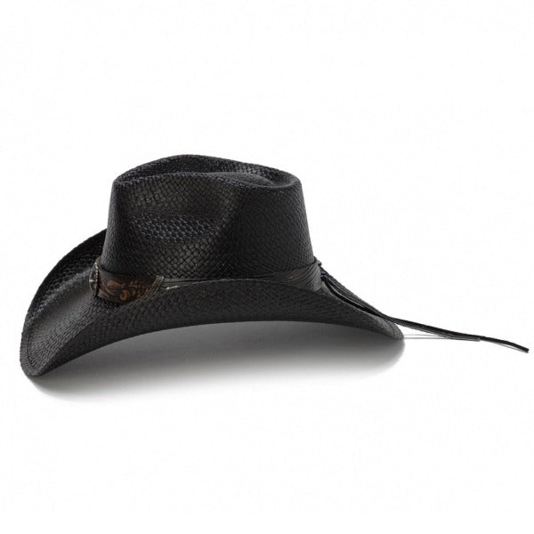 black straw western stampede cowboy hat with black band