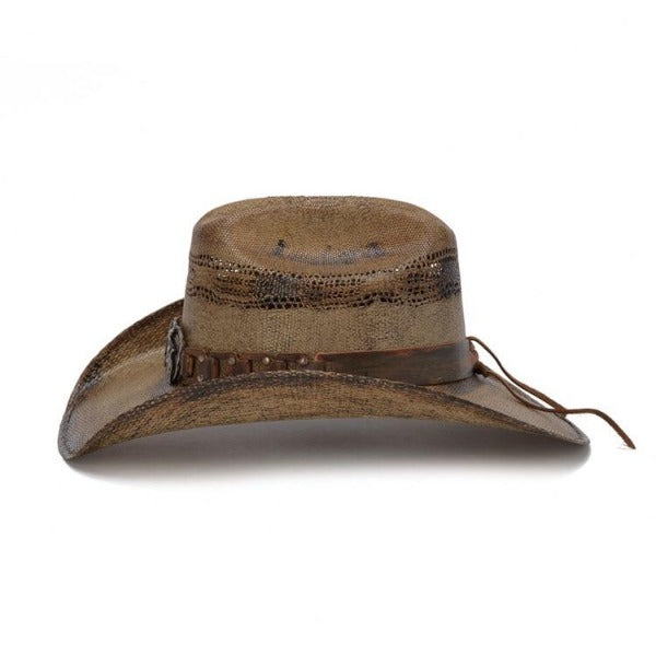Light brown stained western straw cowboy Stampede with metal gun concho
