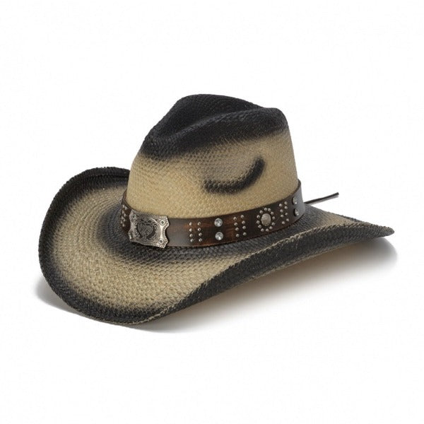 black stained straw panama women's western stampede hat with brown band and square pendant with heart center