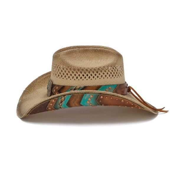 Western cowboy hat with teal and leather accents