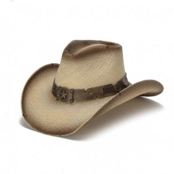 genuine panama straw western stampede cowboy hat with brown belt buckle band and five star pendant centerpiece