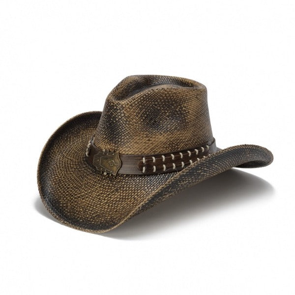 Men's Straw Cowboy Hat | Stampede | Black | Guitar Head Buckle