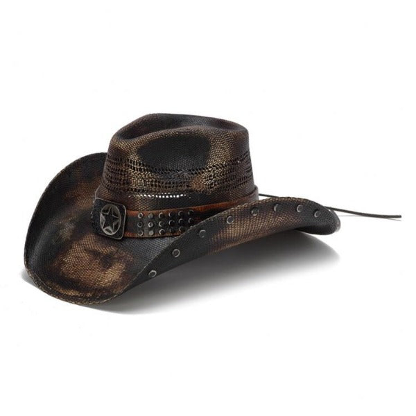 Men's Straw Cowboy Hat | Stampede | Black | Studs