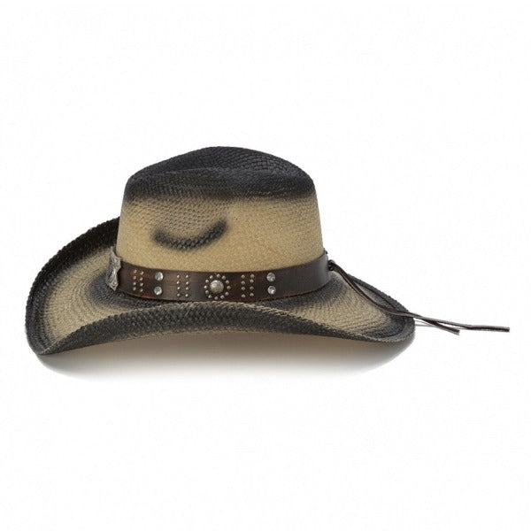 black stained straw panama women's western stampede hat with brown band