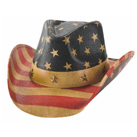 western straw hat with all-over american flat print