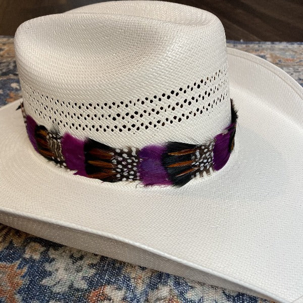 Western Feather Hat Band - Purple