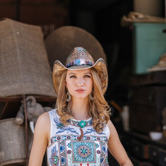 Stampede Women's Western Straw Cowboy Hat - The Sea Green Color Stain