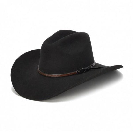 black wool felt stampede hat with brown leather trim