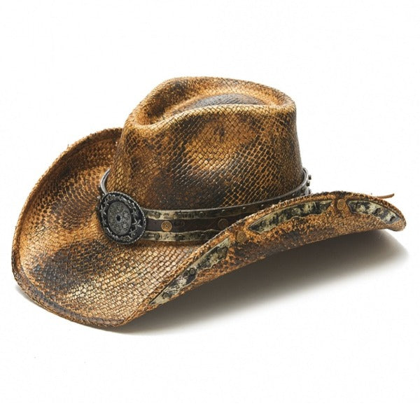 black and brown genuine panama straw stampede cowboys hat with gun cylinder pendant