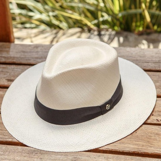 White panama straw hat with black ribbon band