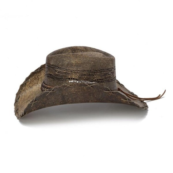 Brown Stampede cowboy hat with chain band