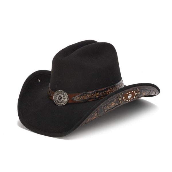 Stampede Men's Western Felt 100X Wool Hat - The Jasper in Black