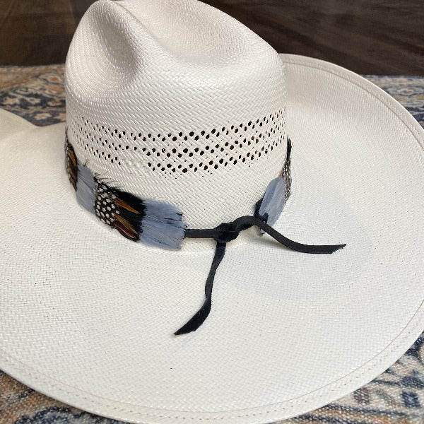 Western Feather Hat Band - Grey
