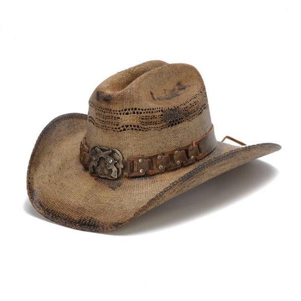 Men's Straw Cowboy Hat | Stampede | Gun Concho | Tea Stained