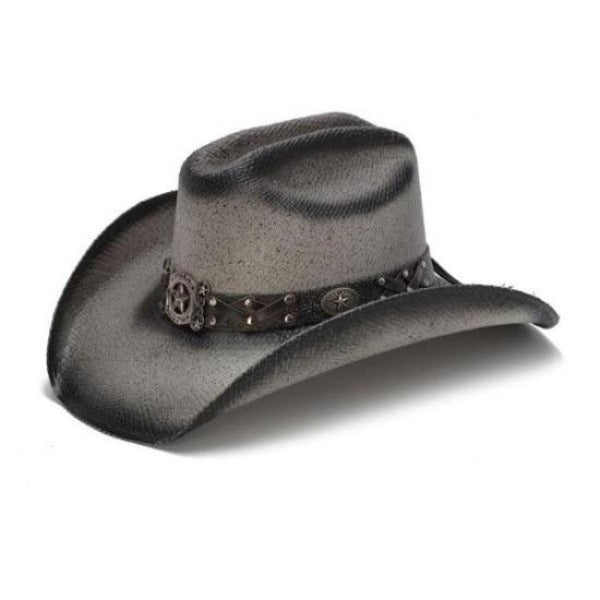 The Lonestar Black Stained Stampede Straw Western Hat