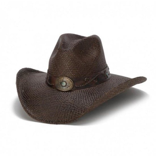 genuine brown panama straw western cowboy stampede hat with bronze pendant and turquoise star centerpiece