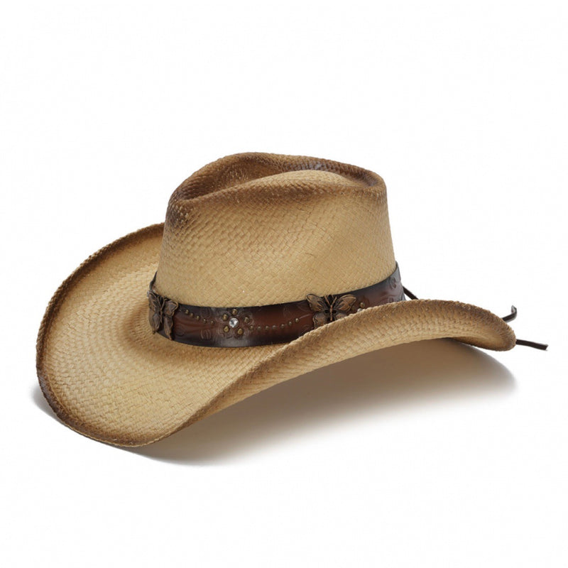 tea stained genuine panama straw womens stampede cowboys hat with butterfly pendant