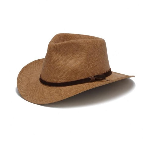 Brown western panama straw hat