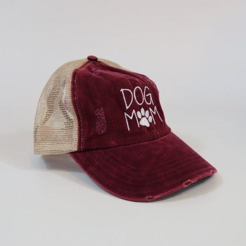 Dog Mom Mesh Ponytail Hat Burgundy by David & Young