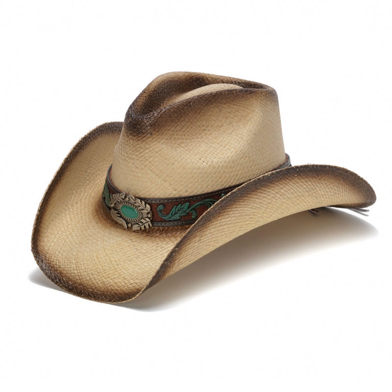 tea straw genuine panama straw women's western stampede cowboy hat with turquoise pendant centerpiece