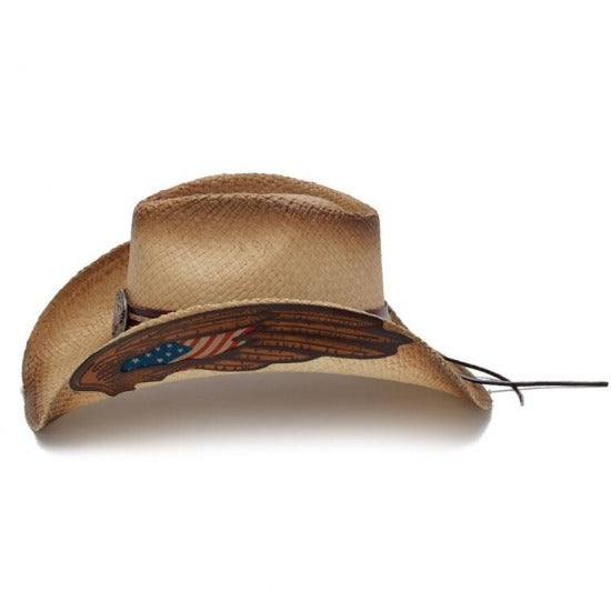 Stampede Straw Western Hat - The America Stars and Stripes USA