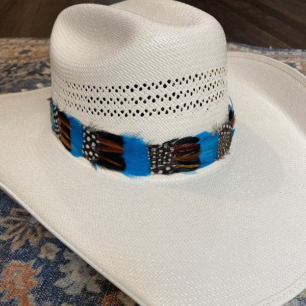 Western Feather Hat Band - Blue