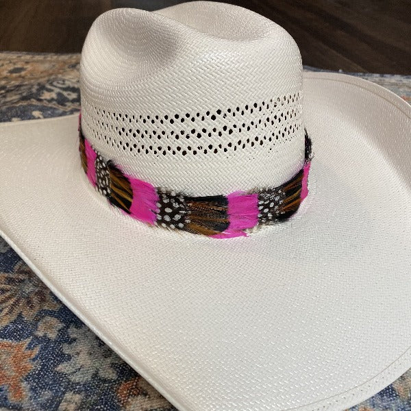 Western Feather Hat Band - Hot Pink