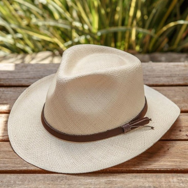 Straw Fedora Hat | Austral | Beige | Leather Band