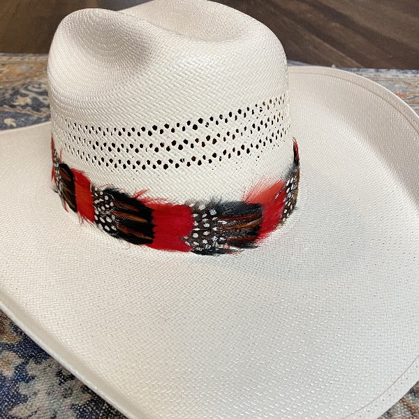Western Feather Hat Band - Red