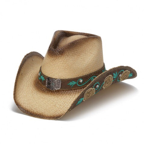 cream colored stampede brand cowboy hat with inlaid leather brim with flowers and tuquise leaves