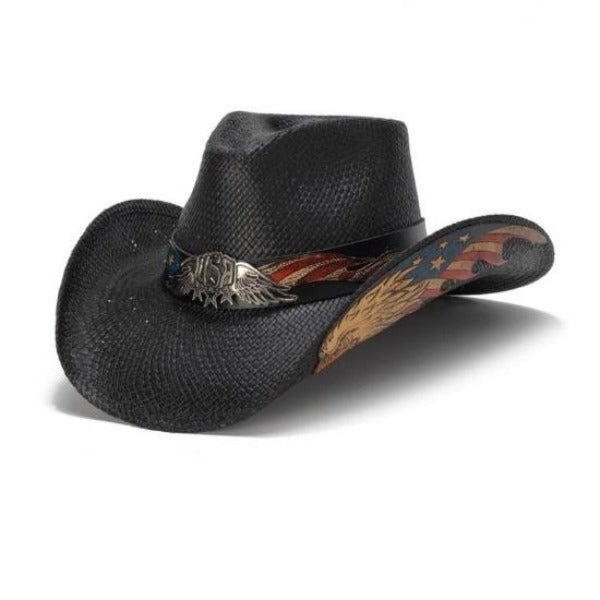 Stampede Western Hat - American Black Eagle USA Patriotic Straw