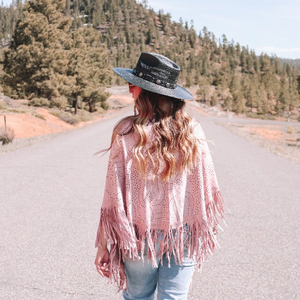 Blush fringe shawl