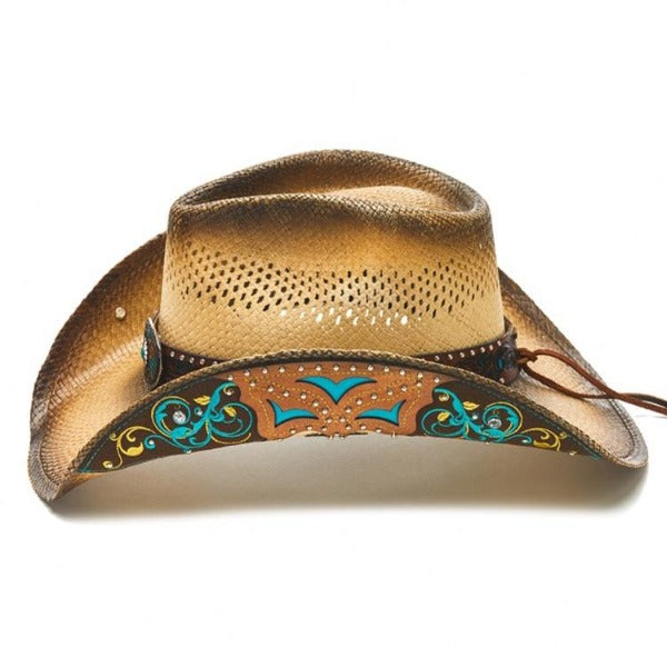 Wetsern cowboy hat with leather details, orange, teal, large concho