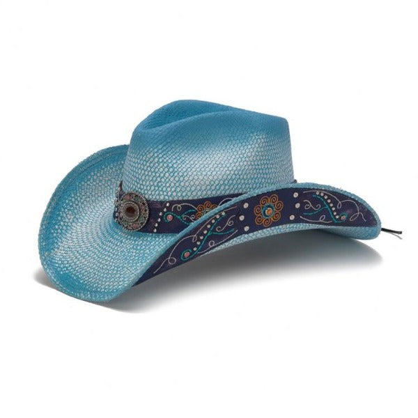 Stampede Women's Western Straw Hat- The Bluebonnet