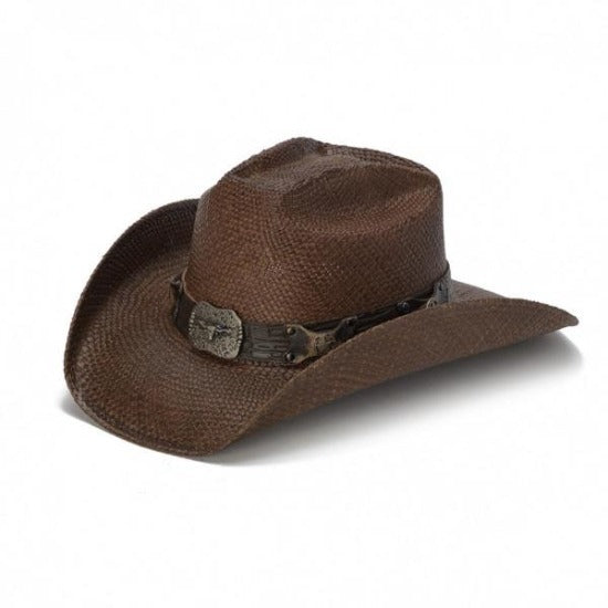 brown straw panama women's stampede cowboys hat and texas longhorn buckle pendant