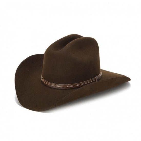brown wool felt stampede western cowboy hat with leather trim