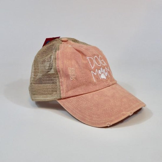Dog Mom Mesh Ponytail Hat Pink by David & Young
