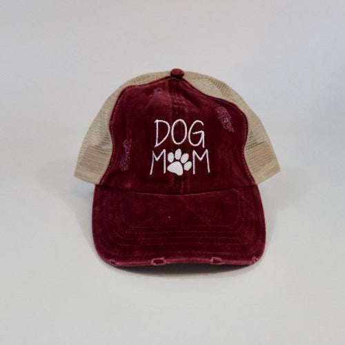 Dog Mom Mesh Ponytail Hat Burgundy by David & Young Willow Lane