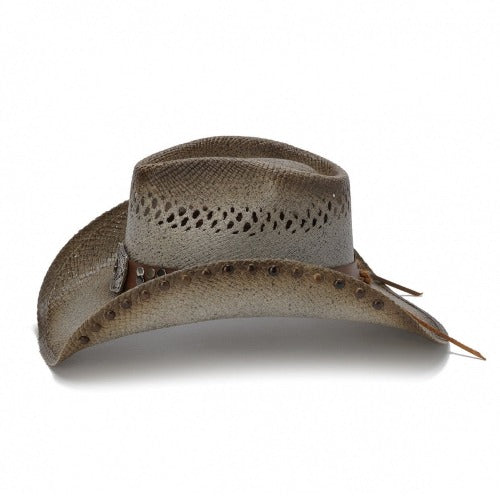 tea stained and brown tinted and vented straw stampede panama womens cowboy hat and a brown band with tacks and large buckle centerpiece with small star in the center