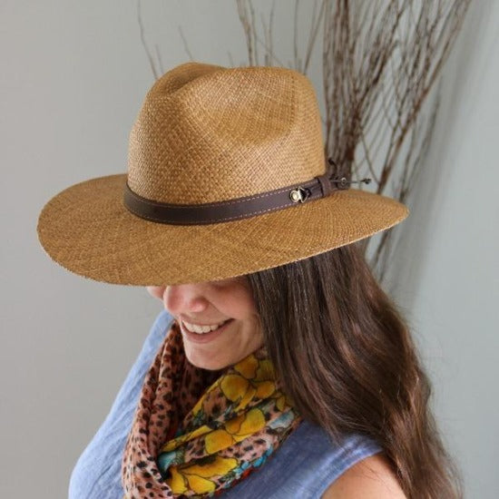 Austral Brown Panama Straw Hat - The Julian With Leather Band