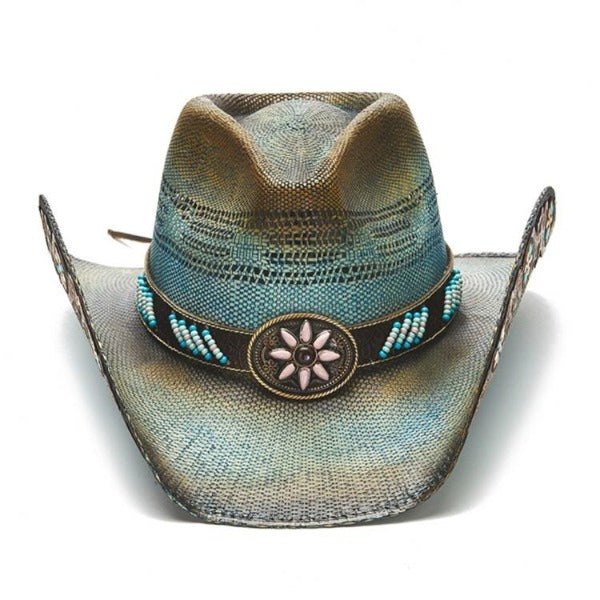 Women's Straw Cowboy Hat | Stampede | Blue