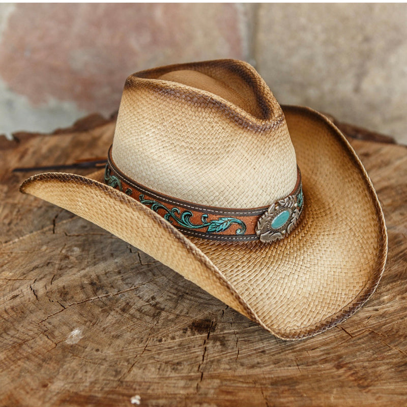 tea straw genuine panama straw women's western stampede cowboy hat with turquoise pendant centerpiece on wooden stump table