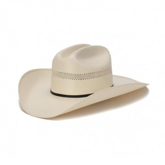traditional vented western straw stampede hat with black leather trim band