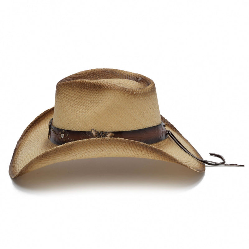 tea stained genuine panama straw womens stampede cowboys hat